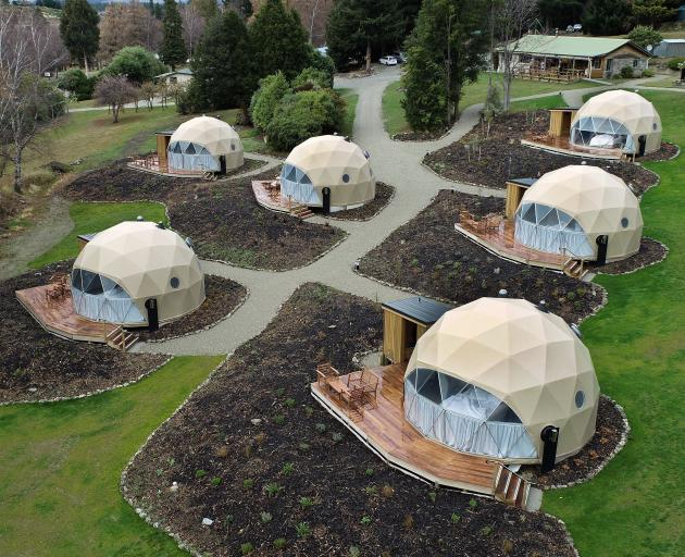 """Six geo-domes provide a premium """"glamping"""" experience at the Lake Hawea Camping Ground."""