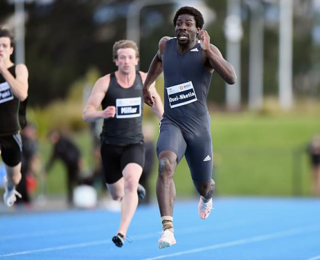 Eddie Osei-Nketia competes in the men's 200 m at the New Zealand International Track Meet at Nga...