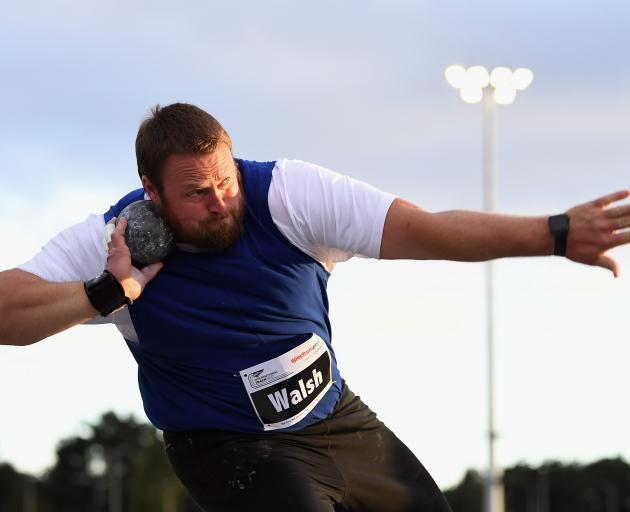 Olympic bronze medallist Tom Walsh competes in the shot put during the international track meet...