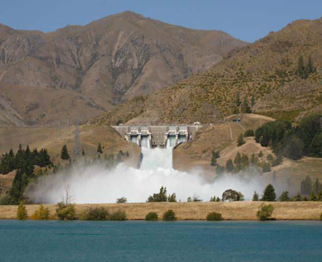 Water surging down the spillway of the Benmore dam. Photo: File