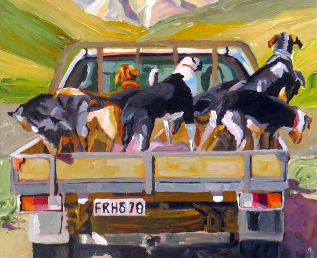 Dogs on the Ute, by Harriet Millar