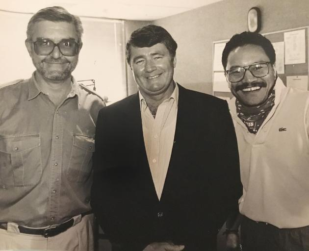 James Daniels with former 3ZM co-host Ken Ellis and the late Jim Anderton. Photo: Supplied