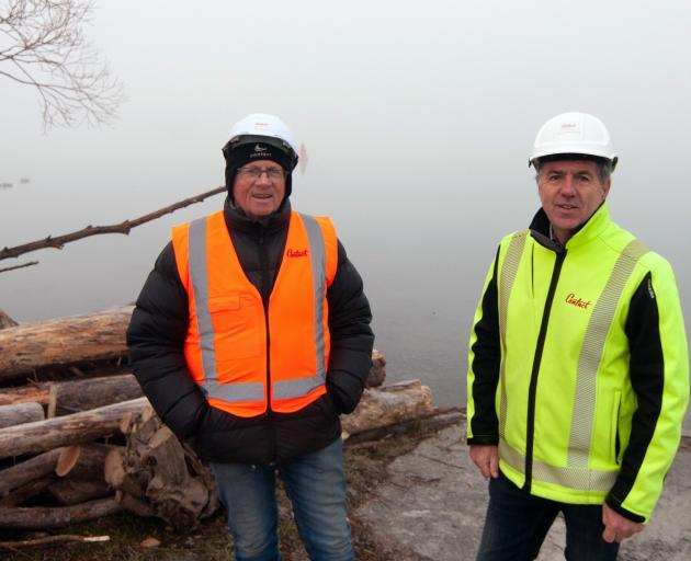 Contact Energy dam safety team engineer Denis McEntyre (left) and head of hydro Boyd Brinsdon at...