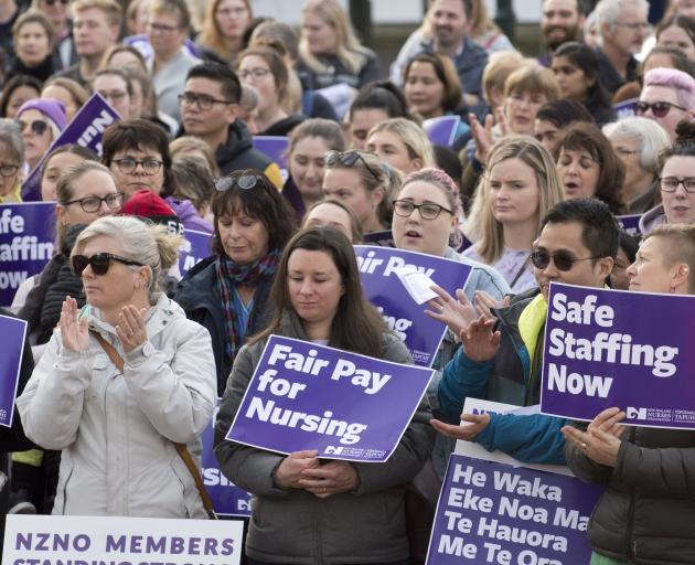 Striking nurses gather in Dunedin's Octagon during a rally early this month. PHOTO: GERARD O'BRIEN