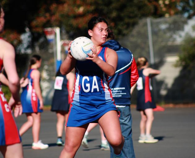 St Kevin's College goal attack Zaria Kira looks for an opportunity during the North Otago premier...