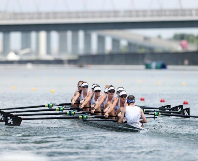 The New Zealand women's eight Ella Greenslade, Emma Dyke, Lucy Spoors, Kelsey Bevan, Grace...