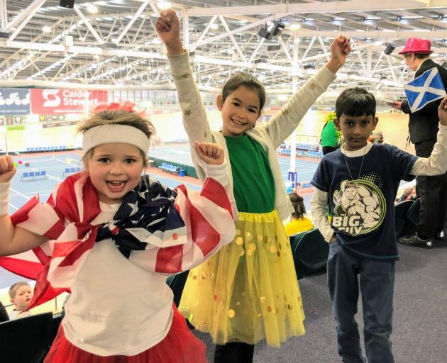 St Theresa's School pupils Scarlet Shanks (5), from New Zealand, Maria Cruz (7), from Brazil, and...