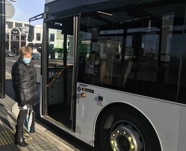Elaine Day, of Dunedin, is masked up at the bus hub.PHOTO: GILLIAN VINE