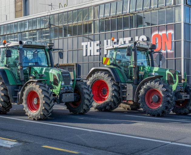 Tractors take part in Friday's Groundswell protest in Dunedin. PHOTO: MARK MCGUIRE
