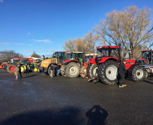 Tractors gathered at the A and P grounds in Gore. Photo: Gerard O'Brien