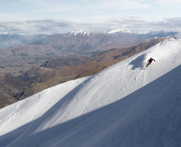 James Mulcahy snowboards on the Cardrona Alpine Resort's Willows Basin skifield. PHOTOS: TROY...