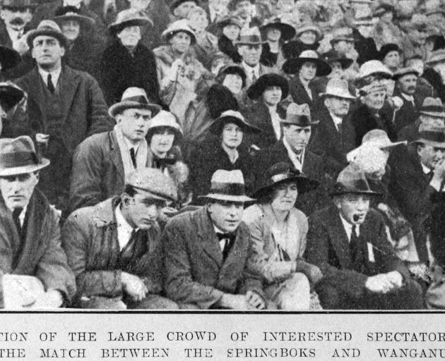 A section of the interested spectators at the match between the Springboks and Wanganui. — Otago...