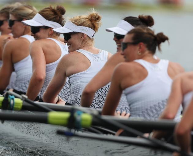 It was all smiles for the women's eight after they claimed a silver medal in Tokyo. Photo: Getty...