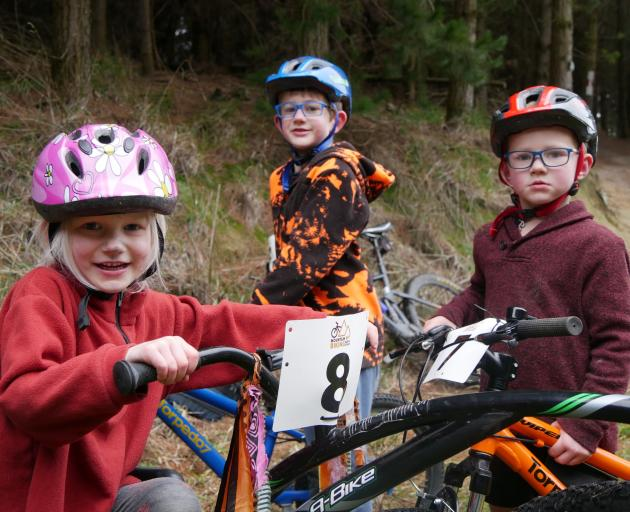 Raring to hit the Reservoir Forest Mountain Bike Track in Oamaru yesterday are siblings (from...