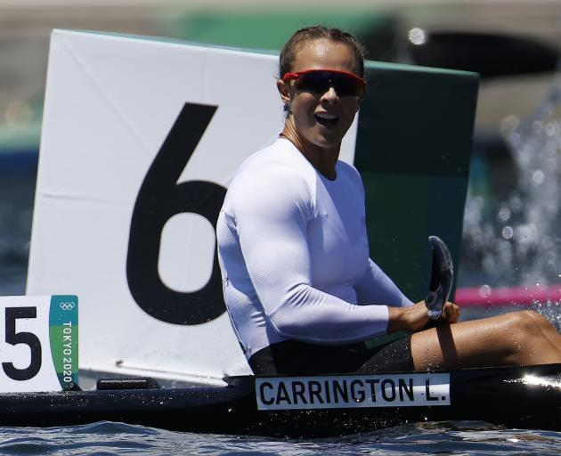 Lisa Carrington reacts after her victory in the K1 200m final. Photo: Reuters