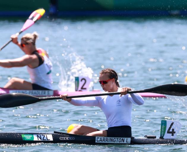 Lisa Carrington in action during her K1 500m heat today. Photo: Reuters