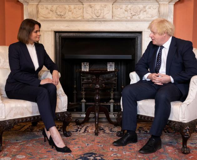Sviatlana Tikhanovskaya met with British Prime Minister Boris Johnson at 10 Downing Street this...