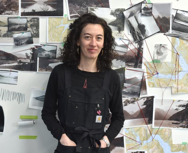 Bridget Reweti mapped out her photographic journey on the wall of the Frances Hodgkins Fellowship...