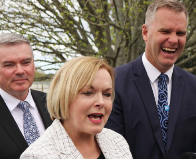 National leader Judith Collins with former Northland MP Matt King (right) and Scott Simpson....