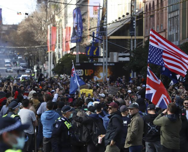 Thousands marched in Sydney against the state's Covid lockdown. Photo: Getty Images