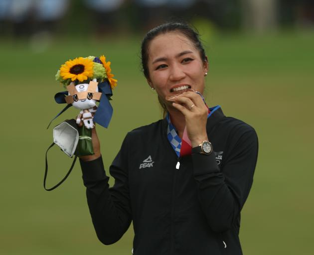 Lydia Ko with her bronze medal to go with the silver she won at Rio in 2016. Photo: Getty Images