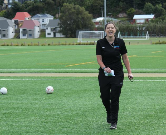 New Football South referee development manager Allys Clipsham at Logan Park Turf earlier this...