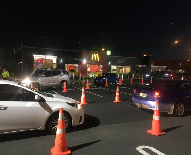 There was a line of cars at McDonald's in Anderson's Bay before it opened this morning. Photo:...