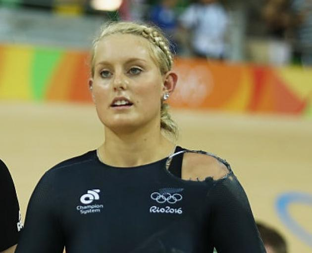 Olivia Podmore after a crash in the Keirin event at Rio Olympics. Photo: Getty Images