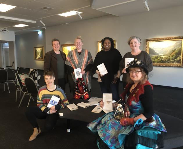 """Human library"" participants (from left, back) Rebecca Amundsen, Anna Cochrane, Loshni Manikam..."