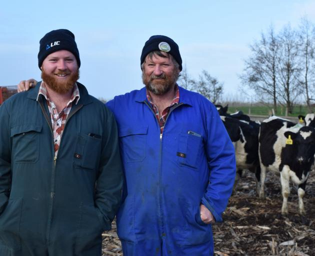 Dairy farmers Tony Brock (right) and his son, Cameron, are 50:50 sharemilking in Kaitangata. PHOTO: SHAWN MCAVINUE