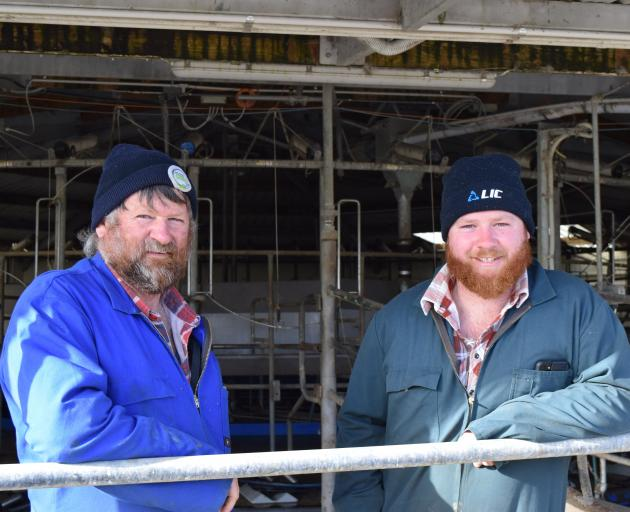 Dairy farmers Tony Brock (left) and his son, Cameron, are 50:50 sharemilking in Kaitangata. PHOTO: SHAWN MCAVINUE