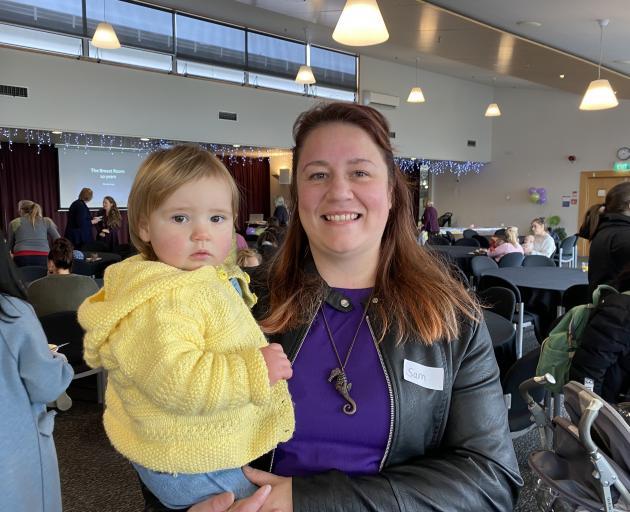 Dunedin mum Sam Gittoes and baby Addison (16 months) enjoy The Breast Room celebration. Ms...
