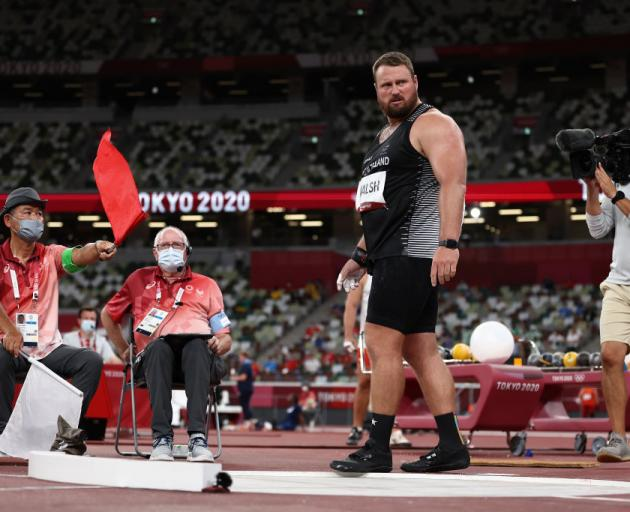 Tomas Walsh reacts as the judges make a decision during the Men's Shot Put qualification at the Tokyo 2020 Olympic Games. Photo: Getty Images