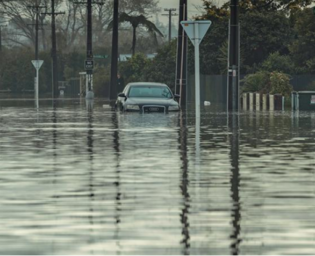 A submerged car in Westport. Photo: Supplied / NZ Defence Force