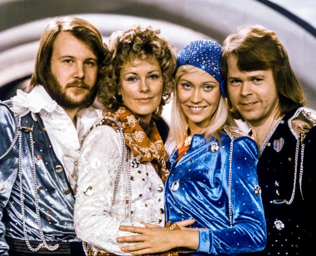 From left: Benny Andersson, Anni-Frid Lyngstad, Agnetha Faltskog and Bjorn Ulvaeus in 1974. Photo...