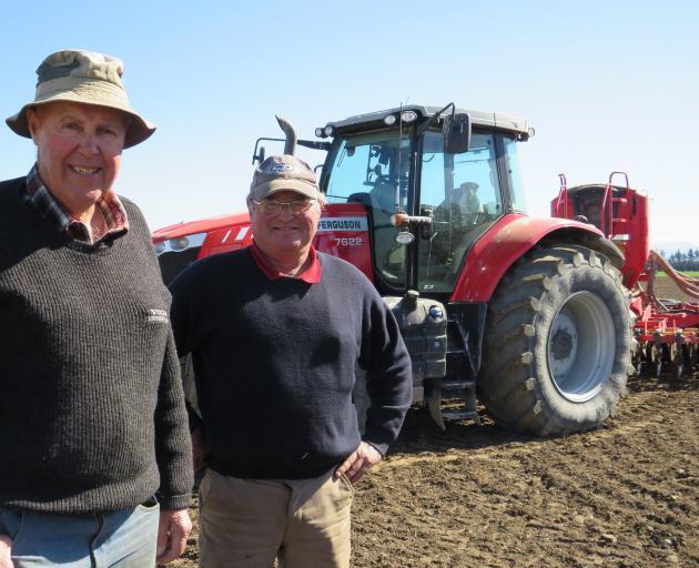Mid Canterbury Vintage Machinery Club's John Hall (left) and Anthony Hampton at the Hampton farm...
