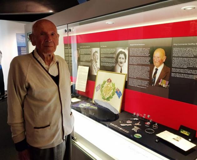 Ron Hermanns visiting the display of his 'trench art' at the Air Force Museum of New Zealand in...