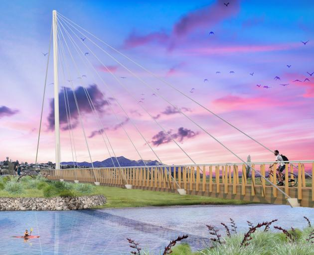 A view of the proposed cable-stay bridge over the Mataura River in Gore from the east bank...