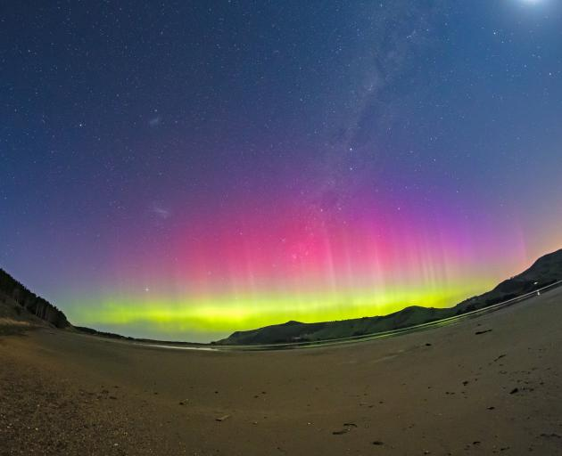 Auroral activity can still be visible during a full moon. PHOTO: IAN GRIFFIN