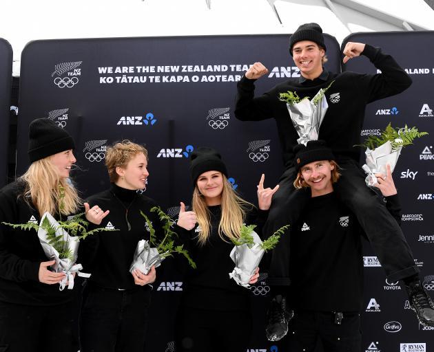 Celebrating their selection are (from left) Zoi Sadowski-Synnott, Margaux Hackett, Alice Robinson...