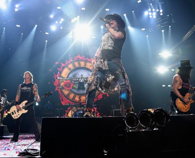 Guns n' Roses band members (from left) Duff McKagan, Axl Rose and Slash. Photo: Getty Images