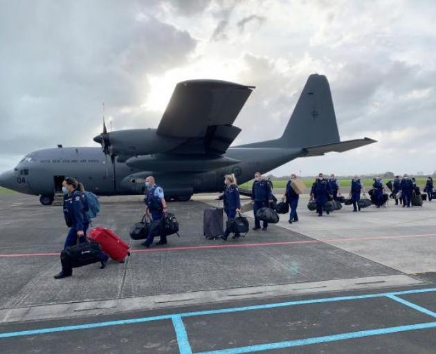 The chartered C-130 Hercules stopped off in Christchurch. Photo: NZ Police