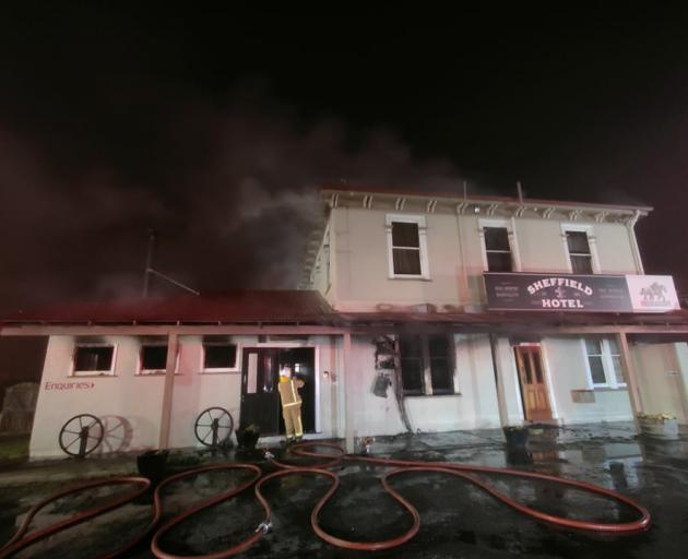 The upper level of the building was well alight when firefighters arrived. Photo: Sheffield...