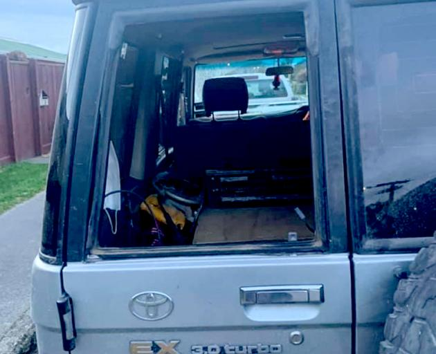 The rubber seal around Mason Westwood's Toyota Land Cruiser was cut so the window could be...