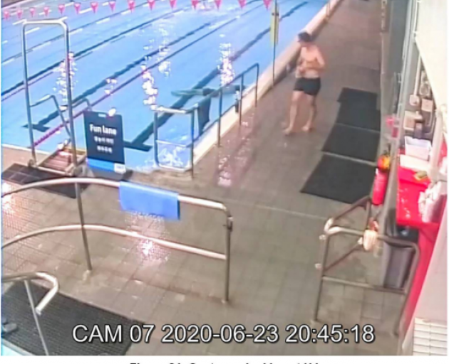 Security camera image of a customer looking at Hamish Jamieson as he lay unconcious at the bottom...
