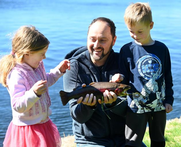 Looking forward to a fish dinner are (from left) Arah, Matthew and Fletcher Parks, of Allanton,...