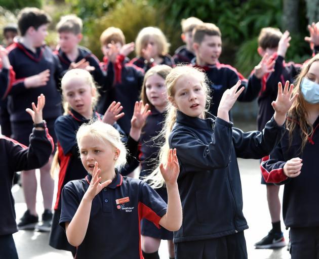Grants Braes School pupils perform kapa haka for the national Maori Language Moment on Tuesday...