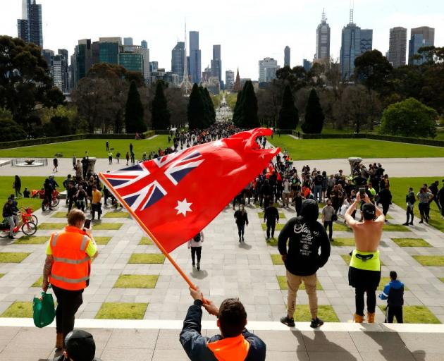 Protesters gather at the Shrine of Remembrance in Melbourne on Wednesday. Photo: Getty Images