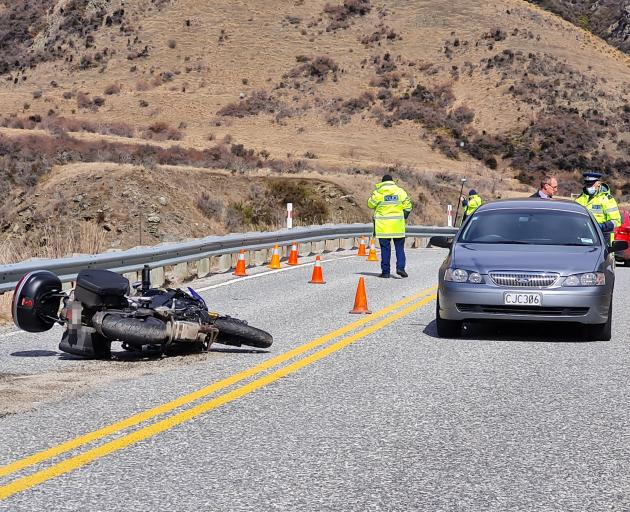 Emergency services attend a fatal motorbike accident on the Crown Range Rd near Cardrona Village...