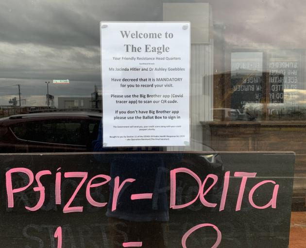 The notice on the door of The Eagle pub in Bluff, as tweeted by broadcaster and Invercargill city...